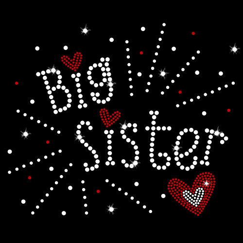 Big Sister Iron On Rhinestone Transfer