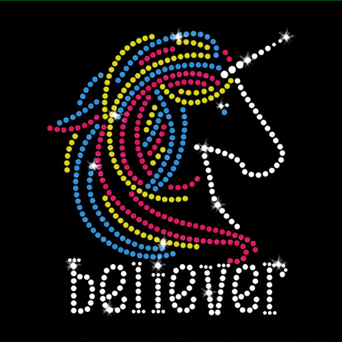 Unicorn Believer Iron On Rhinestone Transfer