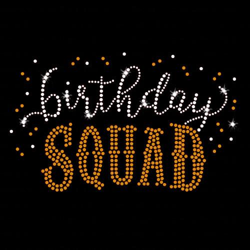 Birthday Squad Iron On Rhinestone & Gold Rhinestud Transfer