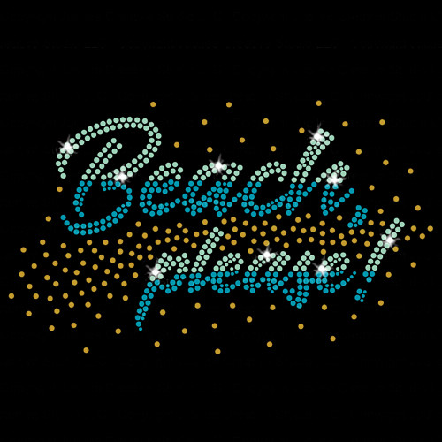 Beach Please Iron On Rhinestone Transfer