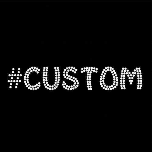 Hashtag Custom Name or Word with Clear Funky Style Letters Rhinestone Transfer