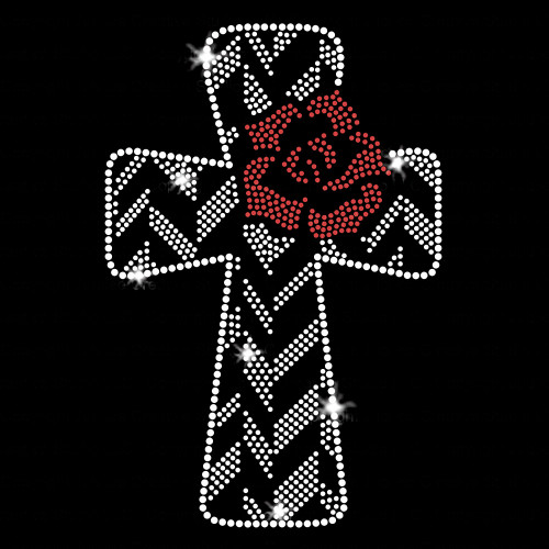 Christ Arose Cross Iron On Rhinestone Transfer