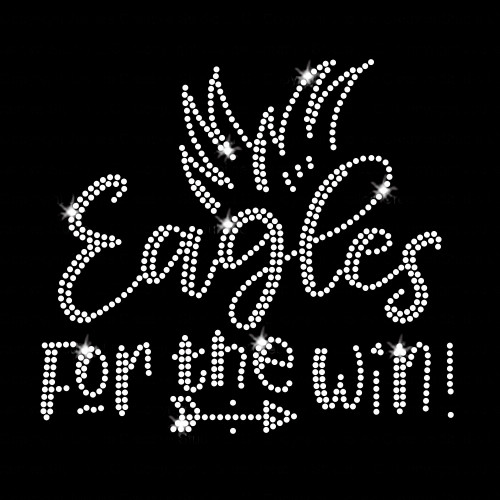 Eagles for the Win Iron On Rhinestone Transfer