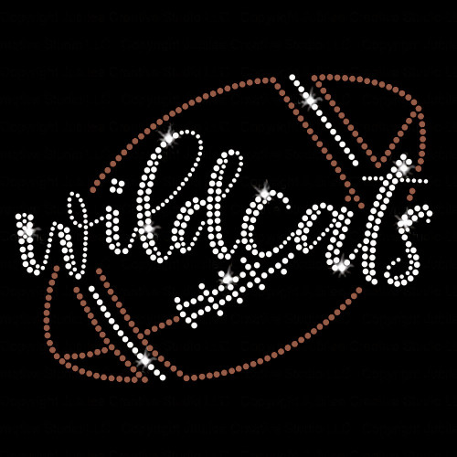 Wildcats Script Football Iron On Rhinestone and Rhinestud Transfer