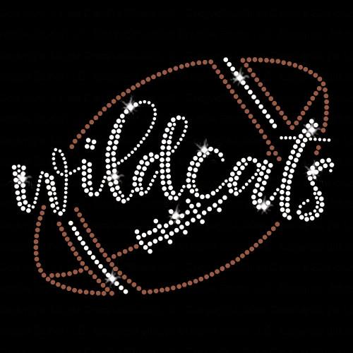 Wildcats Script Football Iron On Rhinestone and Rhinestud Transfer