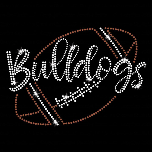 Bulldogs Script Football Iron On Rhinestone and Rhinestud Transfer