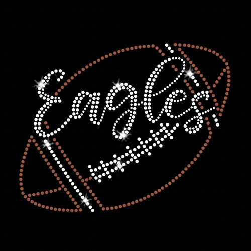 Eagles Script Football Iron On Rhinestone and Rhinestud Transfer