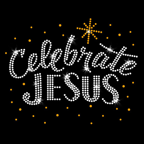 Gold Celebrate Jesus Iron On Rhinestone and Rhinestud Transfer