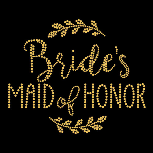 Maid of Honor Laurel Gold Iron On Rhinestud Transfer