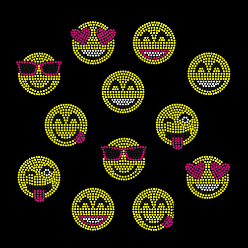Set of 12 Small Emoji Smiley Faces Iron On Nailhead Transfer