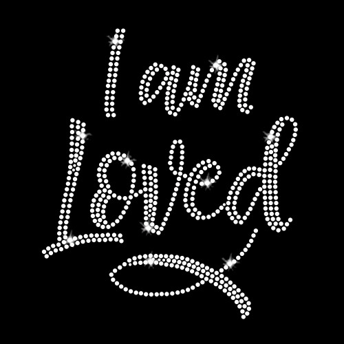 I Am Loved Iron On Rhinestone Transfer