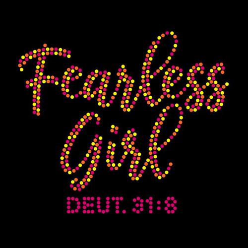 Fearless Girl Iron On Neon Nailhead Studs Transfer