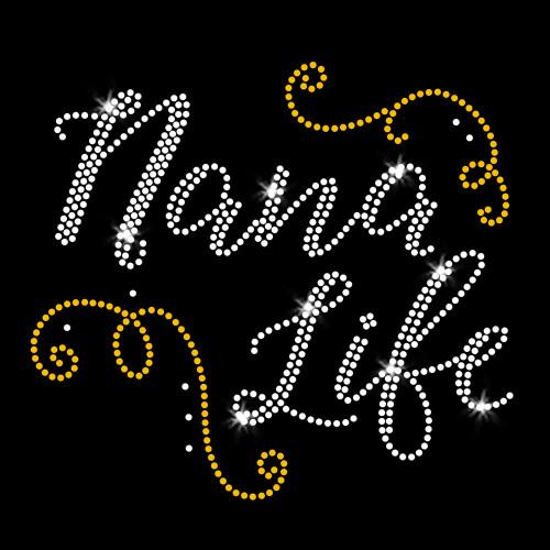 Nana Life Iron On Rhinestone and Rhinestud Transfer
