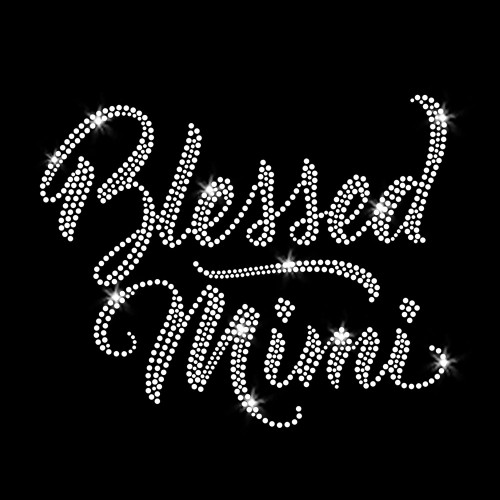 Blessed Mimi Iron On Rhinestone Transfer