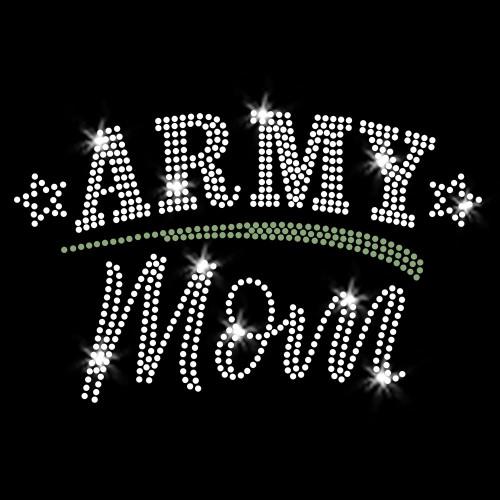 Army Mom Iron On Rhinestone Transfer