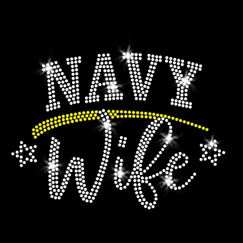 Navy Wife Iron On Rhinestone Transfer