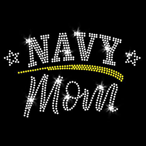 Navy Mom Iron On Rhinestone Transfer