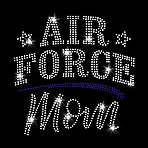 Air Force Mom Iron On Rhinestone Transfer