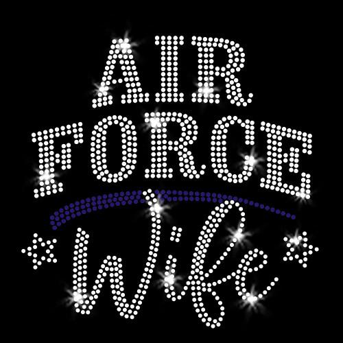 Air Force Wife Iron On Rhinestone Transfer