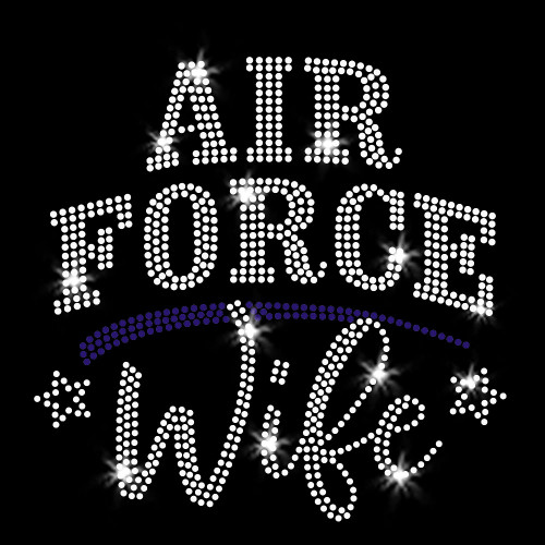 Air Force Wife Iron On Rhinestone Transfer