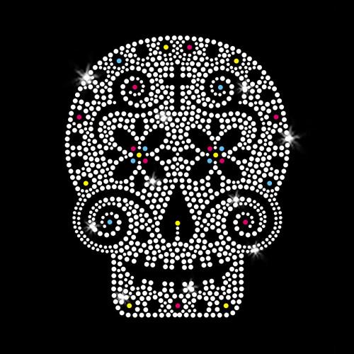 Sugar Skull Iron On Rhinestone Transfer