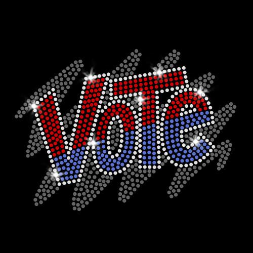 Vote Iron On Rhinestone and Rhinestud Transfer