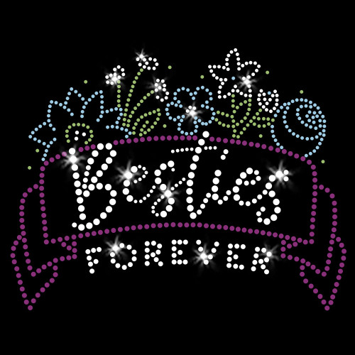 Besties Forever Iron On Rhinestone and Rhinestud Transfer