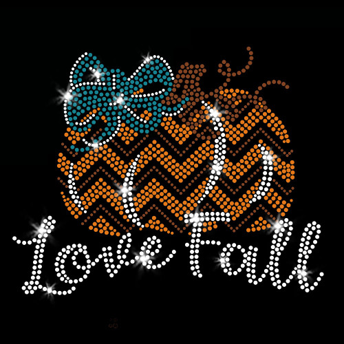 Love Fall Pumpkin Iron On Rhinestone and Rhinestud Transfer