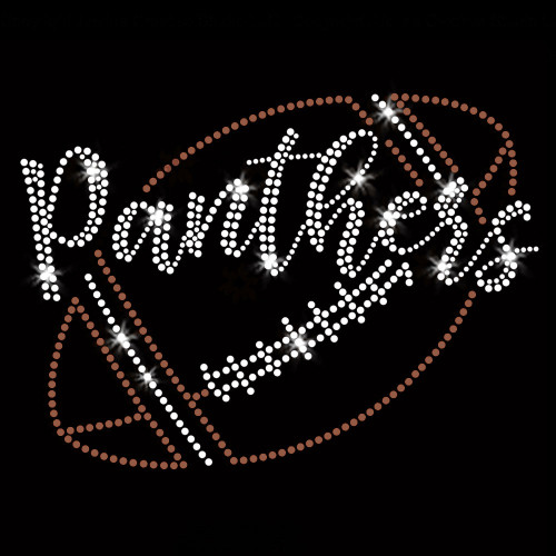 Panthers Script Football Iron On Rhinestone and Rhinestud Transfer