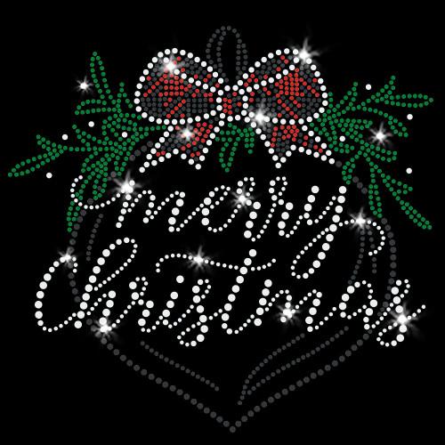 Merry Christmas Ornament Iron On Rhinestone and Rhinestud Transfer