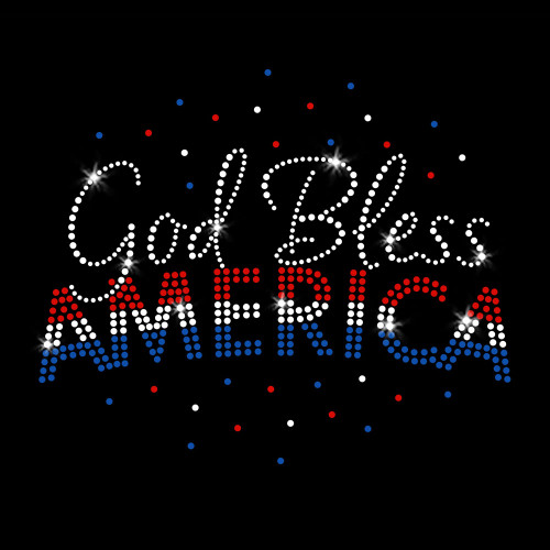 God Bless America New  Iron On Rhinestone Transfer