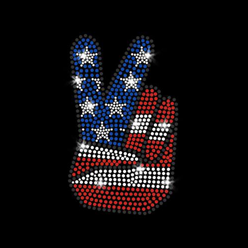 Patriotic Peace Hand Iron On Rhinestone and Rhinestud Transfer