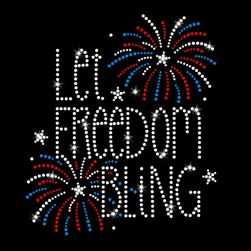 Let Freedom Bling Iron On Rhinestone Transfer