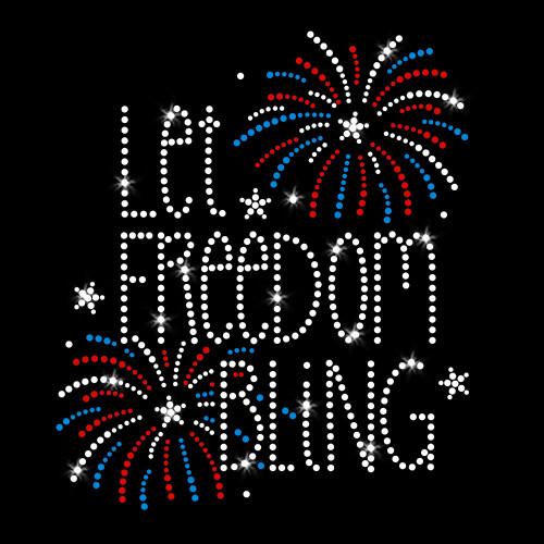 Let Freedom Bling Iron On Rhinestone Transfer