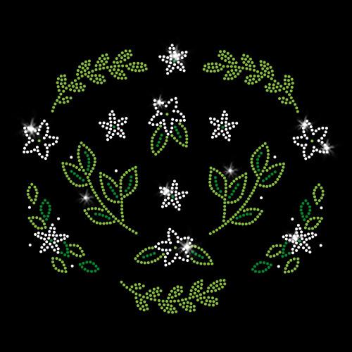 Little Leafy Flowers Iron On Rhinestone and Rhinestud Transfer