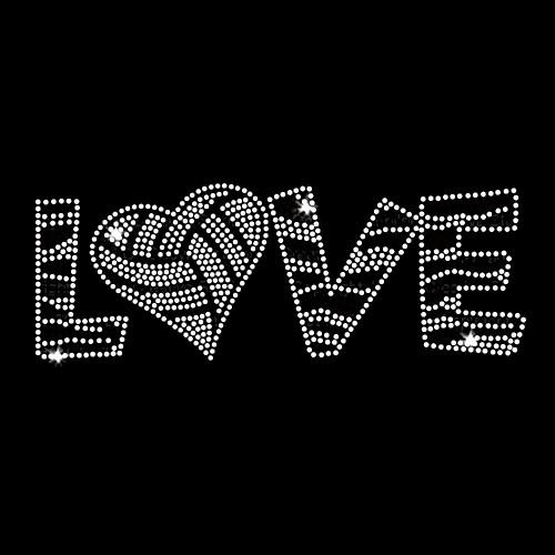Love Volleyball Iron On Rhinestone and Rhinestud Transfer