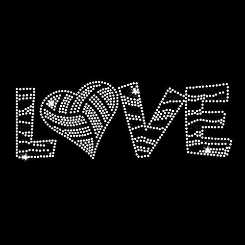 Love Volleyball Iron On Rhinestone and Rhinestud Transfer