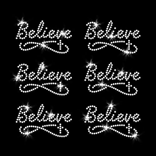 Set of 6 Mini Believe Words Iron On Rhinestone Transfer