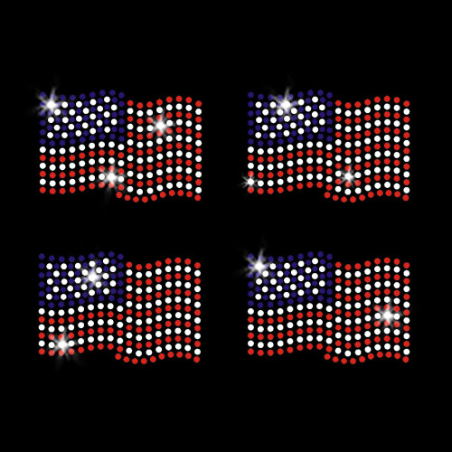 Set of 4 Mini Waving Flags Iron On Rhinestone Transfer