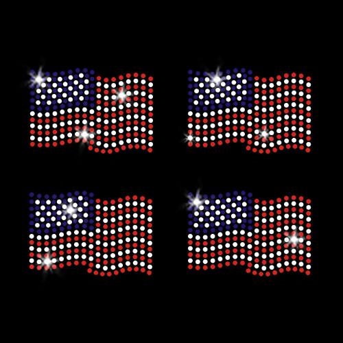 Set of 4 Mini Waving Flags Iron On Rhinestone Transfer