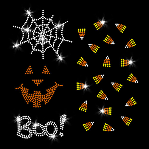 Set of Halloween Mini Designs Iron On Rhinestone Transfer