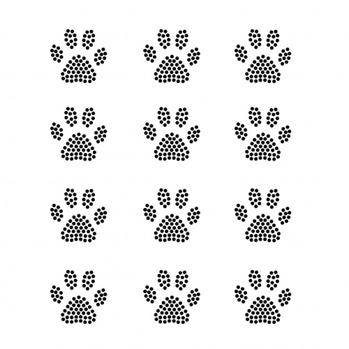 Set of 12 Black Mini Paw Print Iron On Rhinestud Transfers