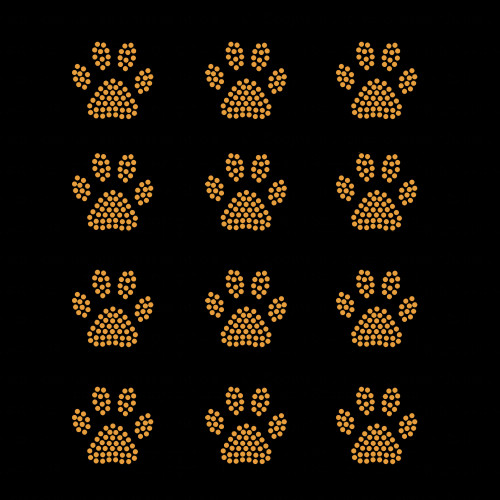 Set of 12 Gold Mini Paw Print Iron On Rhinestud Transfers