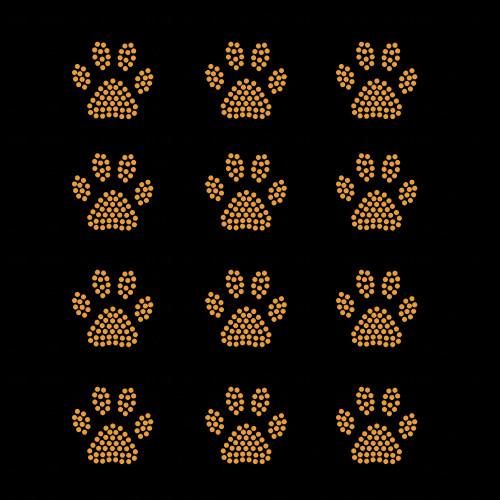 Set of 12 Gold Mini Paw Print Iron On Rhinestud Transfers