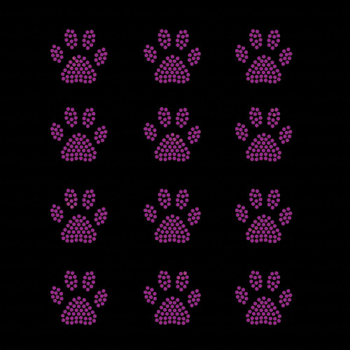 Set of 12 Purple Mini Paw Print Iron On Rhinestud Transfers