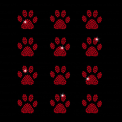 Set of 12 Red Mini Paw Print Iron On Rhinestone Transfers