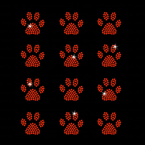 Set of 12 Orange Mini Paw Print Iron On Rhinestone Transfers