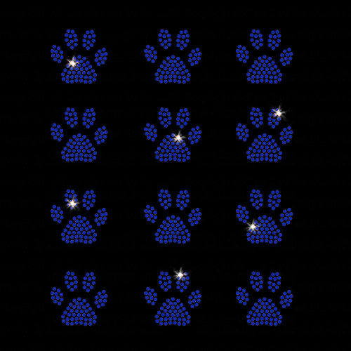 Set of 12 Blue Mini Paw Print Iron On Rhinestone Transfers