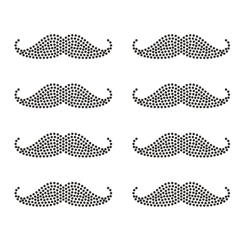 Set of 8 Black Mustaches Iron On Rhinestud Transfers