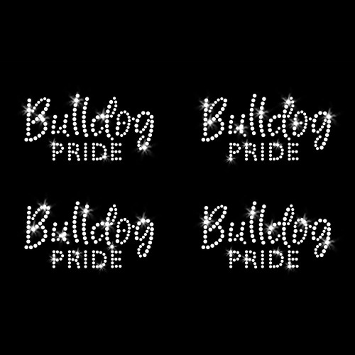 Set of 4 XS Bulldog Pride Iron On Rhinestone Transfers
